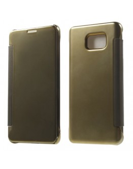 Husa de protectie flip cover cu suprafata oglinda pentru Samsung Galaxy Note 5 - gold