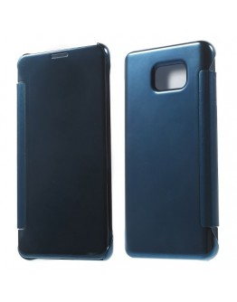 Husa de protectie flip cover cu suprafata oglinda pentru Samsung Galaxy Note 5 - albastra