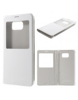 Husa protectie din piele ecologica cu fereastra pentru Samsung Galaxy Note 5 - alba