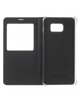 Husa protectie din piele ecologica cu fereastra pentru Samsung Galaxy Note 5 - neagra