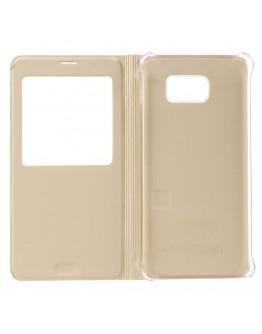 Husa protectie din piele ecologica cu fereastra pentru Samsung Galaxy Note 5 - gold