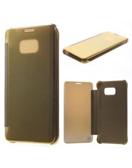 Husa de protectie flip cover cu suprafata oglinda pentru Samsung Galaxy S6 Edge Plus - gold