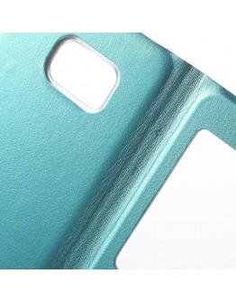 Husa protectie din piele ecologica cu fereastra pentru Samsung Galaxy S6 Edge Plus - albastru deschis