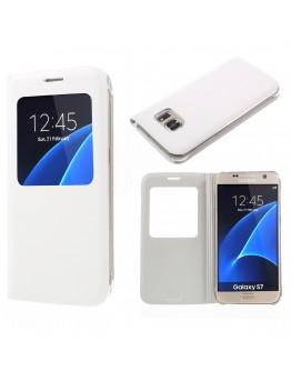 Husa de protectie cu fereastra CS pentru Samsung Galaxy S7 G930, alba