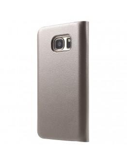 Husa de protectie de tip flip cover CS pentru Samsung Galaxy S7 G930, gold