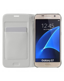 Husa de protectie de tip flip cover CS pentru Samsung Galaxy S7 G930, alba
