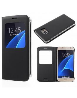 Husa de protectie cu fereastra CS pentru Samsung Galaxy S7 G930, neagra