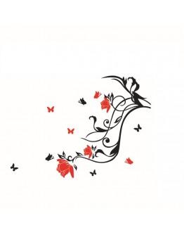 """Sticker perete """"Fluturi si trandafiri"""""""