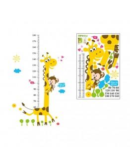 """Sticker perete """"Girafa si maimuta cu metru pentru inaltime"""""""