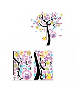 """Sticker perete """"Copac colorat si bufnite in leagan"""""""