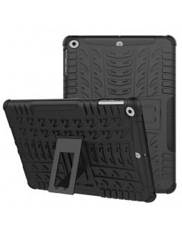 Carcasa protectie spate cu suport din plastic si gel TPU pentru iPad 9.7 inch (2017), neagra
